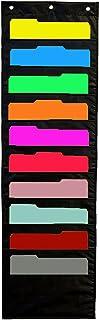 10emplacements Tableau de poche de rangement, Iwishu, File Folder support de suspension en cascade Tissu Organiseur pour bureau et l'école pièce Noir