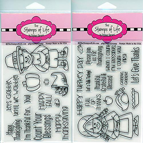 Pilgrim Thanksgiving Stamps for Card-Making and Scrapbooking - PilgrimBOY2 and PilgrimGIRL2 Combo Pack by The Stamps of Life