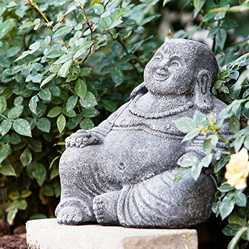 Garden Age Supply Small Volcanic Happy Laughing Buddha Statue