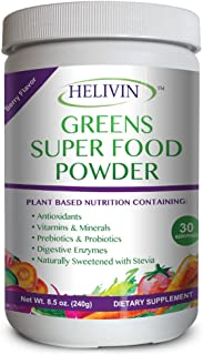 Helivin Greens Super Food Powder - Natural Raw Plant Nutrition with Superfoods Plus Digestive Enzymes - Alkalize, Energize, and Detoxify