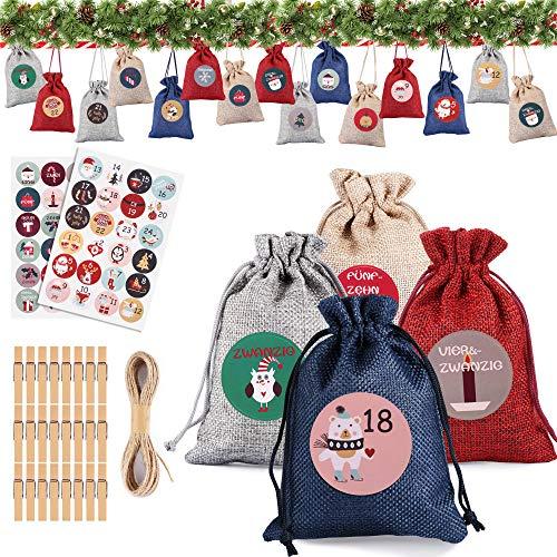 DazSpirit 24 Calendario De Adviento Navidad, Bolsa De Regalo Navidad, 24 Bolsas De Yute Calendario Adviento para Rellenar, Bricolaje Calendario Adviento, para Decoración Navideñaa De Cuenta Atrás