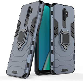 Case for Oppo A9 2020 A11X DWaybox Ring Holder Iron Man Design 2 in 1 Heavy Duty Armor Hard Back Case Cover Compatible for Oppo A9 2020/A11X 6.5 Inch (Dark Blue)