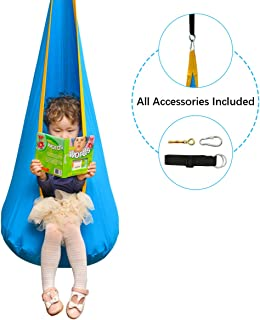 Cchainway Folding Hanging Pod Swing Seat Child Swing Chair Indoor and Outdoor Hammock Chair for Kids, 100% Cotton Hardware Accessories Included (Blue)