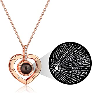 PAERAPAK Custom Love You Necklace - Personalized I Love You Necklace 100 Languages Heart Love Necklace Love Memory Pendant Necklace for Women Mother' s Day Jewelry Gift