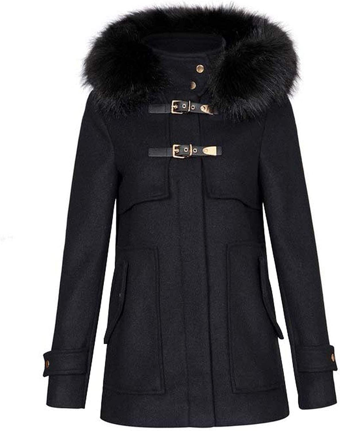 I'm good at you Women Winter Warm Long Woolen Coat Thick Black Faux Fur Hooded Buckle Outerwear