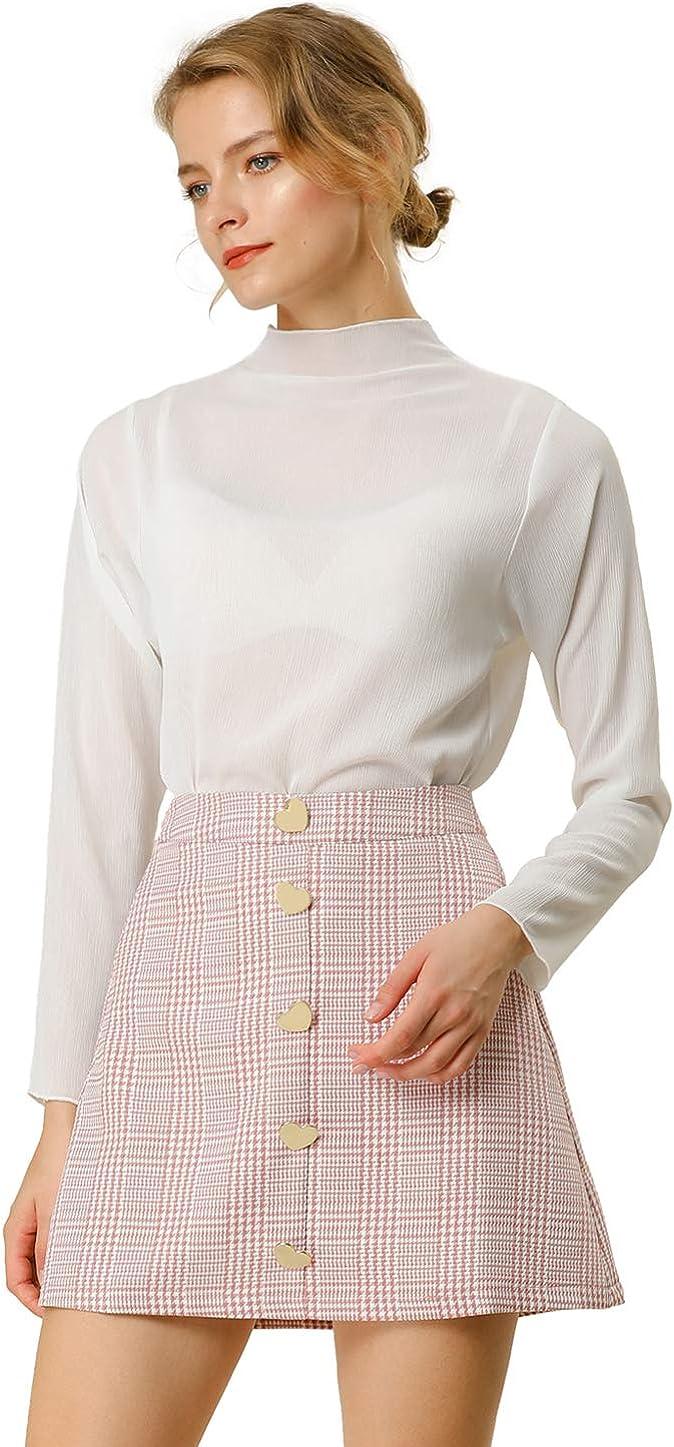 Allegra K Women's Cute Plaids Skirts Vintage Button Decor A-Line High Waist Mini Skirt