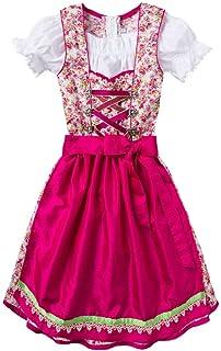 Isar-Trachten Moser Trachten Baumwolle Kinderdirndl Creme geblümt pink 006425, 3-teilig inklusive Dirndlbluse
