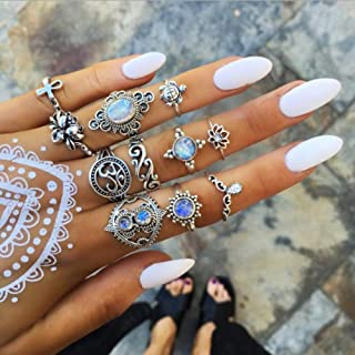 Missgrace Piece Boho Rings Set Vintage Rhinestone Statement Fashion Festive Jewelry الفردية تاج خواتم للسيدات البوهيمي خوا...
