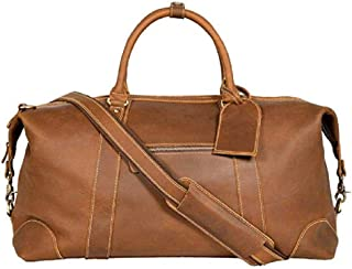 Genuine Leather Travel Duffel | Oversized Weekend Luggage I Buffalo Leather Bag For Men / Women I Sports Gym Overnight Carry-On Bag I Great Gift Idea
