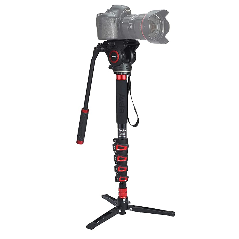 Avella AD325 Aluminum Video Monopod Kit, with Fluid Head and Removable feet, 66 Inch Max Load 13.2 LB for DSLR and Video Cameras
