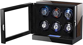 Wooden Automatic Watch Winder Storage Box with LCD Touch Screen for 6 Watches