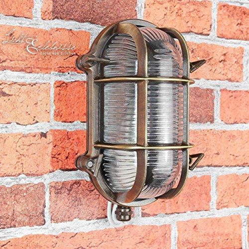 Wandlampe Außen Antik Echt-Messing Rostfrei IP64 Maritimer Stil Messinglampe Außenleuchte Grundstück Haus Balkon