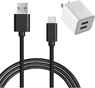 USB Type C Cable, AOKER Dual USB Portable Travel Wall Charger + 6FT USB C to USB A Cable for Samsung Galaxy Note 8,S8,S8 Plus, LG G6 G5 V30 V20, Google Pixel, Nintendo Switch, and More (Black)