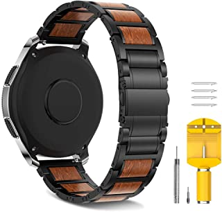 Notocity 22mm Band Compatible with Samsung Gear S3 Watchbands Stainless Steel Wood Strap Replacement for Samsung Gear S3/Galaxy Watch 46mm Smartwatch. (Black, 22mm)