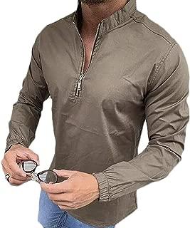 FSSE Men's Casual Slim Fit Long Sleeve Zip Up Plain T-Shirt Tee