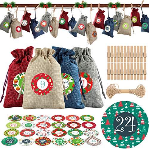 TOYANDONA Weihnachten Adventskalender Taschen 24 Tage Hängen Adventskalender Girlande Weihnachten Countdown Dekorationen mit Sackleinen Kordelzug Taschen Clips Seil Zahlen Aufkleber