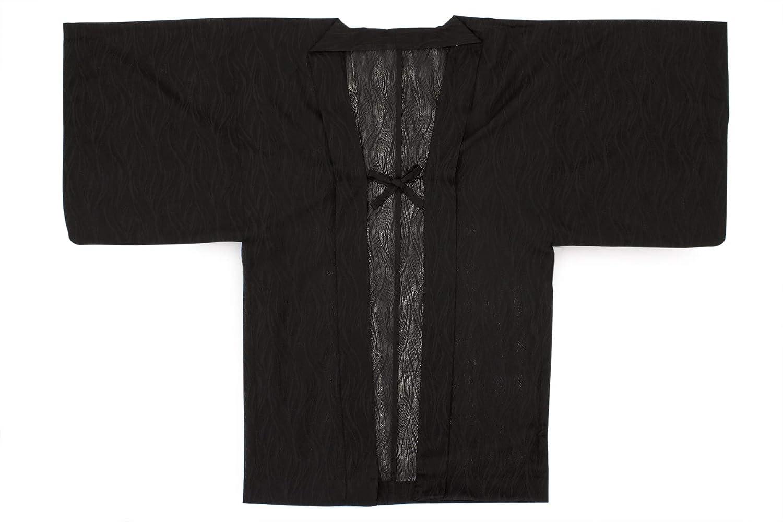 (ソウビエン) 長羽織 黒 ブラック 波 紗 米沢織 レース 単衣 カジュアル 洗える 女性用 レディース 日本製 フリーサイズ