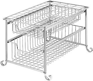 Home 2 Tier Under Sink Cabinet Sliding Basket Storage Organizer, Bathroom Kitchen Organizer Cabinet Slide Out Cabinet Shelf Sliver