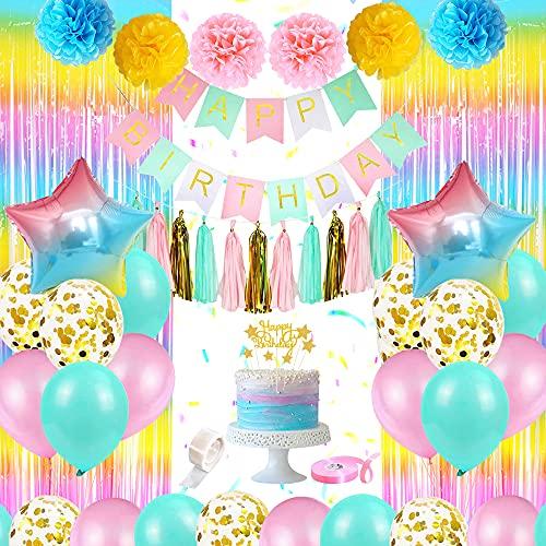 Decoraciones de Cumpleaños Para Mujeres - Globo Rosa Azul Con Pancarta De Feliz Cumpleaños, Globos de Papel Confeti Dorado, Borlas De Papel, Cortina De Lluvia Degradada para Fiesta Cumpleaños Niña