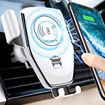 Wireless Car Charger - Easy One Touch Qi Fast Charge Car Mount Kit Adjustable Gravity Air Vent Phone Holder Compatible for iPhone Samsung Nexus Moto OnePlus HTC Sony Nokia & Android (White)