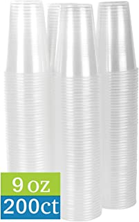 TashiBox 9 oz Clear Plastic Cups - Disposable Cold Drink Party Cups (200)