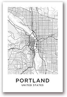 ポートランド地図キャンバスアートプリントポスター都市地図ポートランドストリートマップキャンバス絵画黒白絵ホームルーム壁アートの装飾-60×80センチ-いいえフレーム