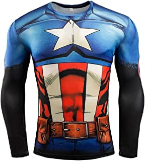 Superhero Captain Compression Shirt & Pants Sports Gym Running Base Layer Workout Spats Tights