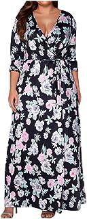 YYLZA Clothes Women Plus Size Flower Print Evening Dress Fashion Casual Long Sleeve Beach Dresses Woman Party