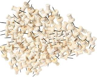 EDATOFLY 80 Piezas Chinchetas de Madera Push Pins Chinchetas Decorativas con Caja Transparente para Corcho, Mapas, Fotos, Calendario