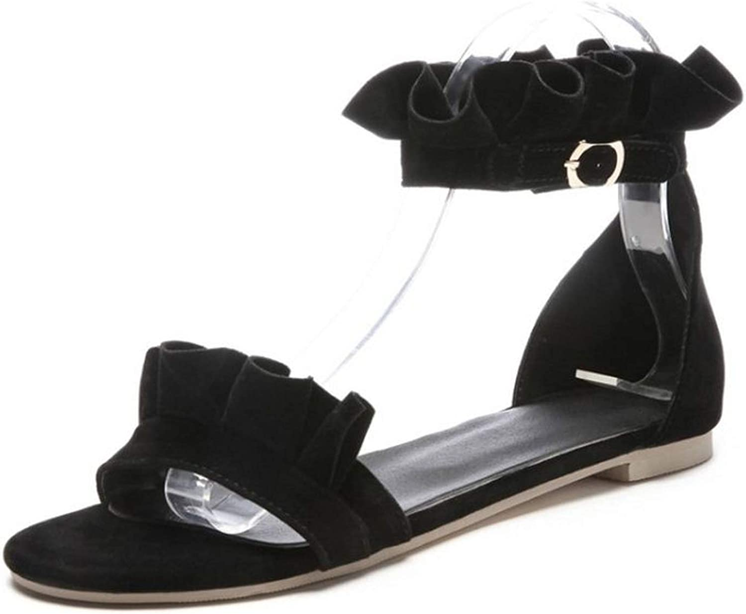 Fairly Flat Open Toe Ankle Strap Ruffles Summer shoes Sweety Classic,Black,4