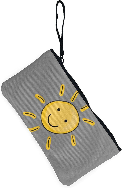 AORRUAM Sun Smile Canvas Coin Purse,Canvas Zipper Pencil Cases,Canvas Change Purse Pouch Mini Wallet Coin Bag
