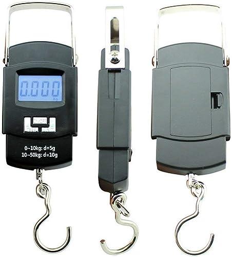 Electronic Balance Portable Hook Weighing Machine Digital Hanging Luggage Fishing Hook Scale Manual Weight 110 lb 50 Kg Backlite LCD Display Screen Black