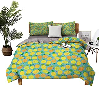 Doodle Sheet Set Microfiber Bedding Abstract Hearts Stars Scales and Rhombuses on Pineapples Exotic Fruit Illustration, 100% Cotton Bedding Multicolor