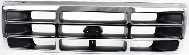 Grille compatible with Ford F-Series 92-97 Plastic Chrome Shell W/Gray Insert