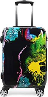 NEWCOM Carry On Luggage Spinner Wheels Hard Shell 20 Inch Suitcase Unique Ink Painting Printed Graffiti Traveling Trolley Case TSA Lock for Hip Pop Punk Youth