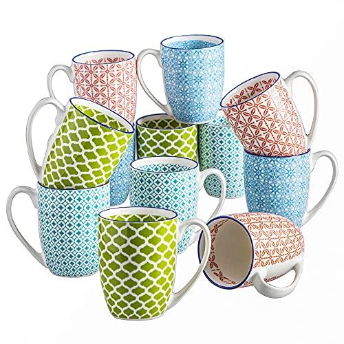 vancasso serie Macaron Taza de Porcelana de 12 piezas 380ml Juego de Tazas de Té/ Cafe de Oficina Taza de Desayuno para el Hogar Mugs Coloridos