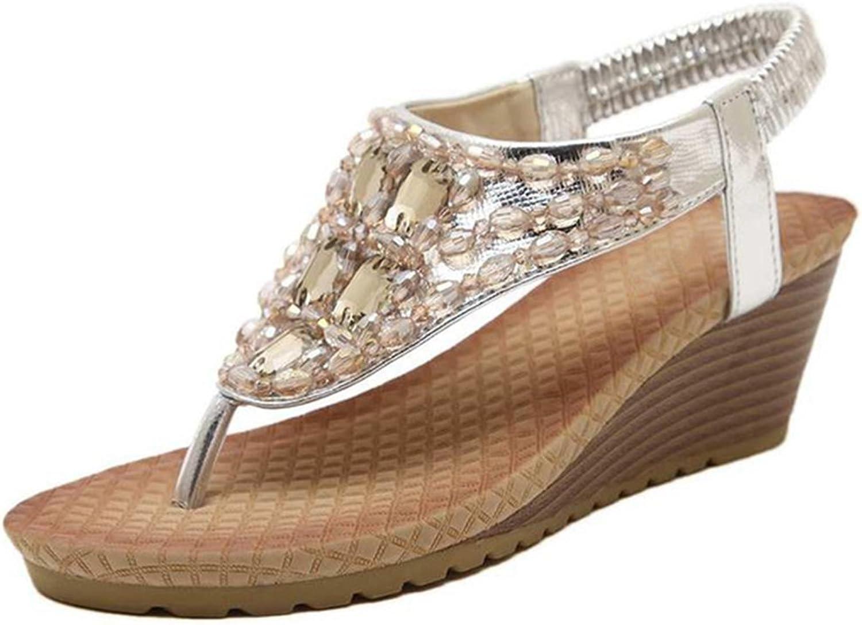 Kyle Walsh Pa Women Flip Flops Flat Sandal,Bohemian Rhinestone Holiday Beach Wedge Thong shoes