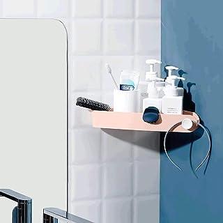 XINGBINGLE バスルームシェルフ壁掛けシャワーシェルフバスルームシェルフシャワーキャディ、トレースレスインスタレーションのバスルームシェルフ、タオルハンガー付きシャワーラックプラスチックタオルラック壁掛け収納ラック (Color : 濃紺)