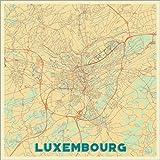 Poster 60 x 60 cm: Karte von Luxemburg, Retro von Hubert