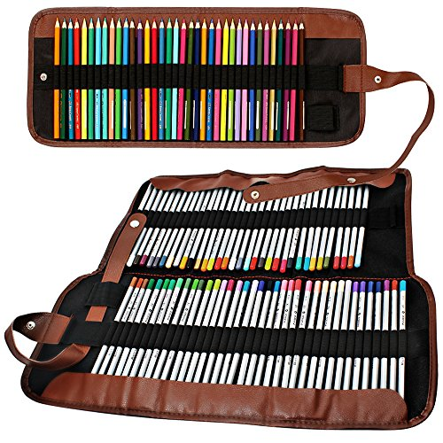 2 Pack Colored Pencils Roll, SENHAI 48 Slot+ 72 Slot Canvas Pencil Organizer Bag/Wrap Rollable Pouch for School, Office, Travel