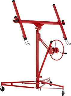 SUNCOO 11' Drywall Lift Rolling Lifter Panel Hoist Jack Lockable Caster Wheels Construction Tool, 150Lbs, Red