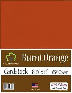 Burnt Orange Cardstock - 8.5 x 11 inch - 65Lb Cover - 100 Sheets