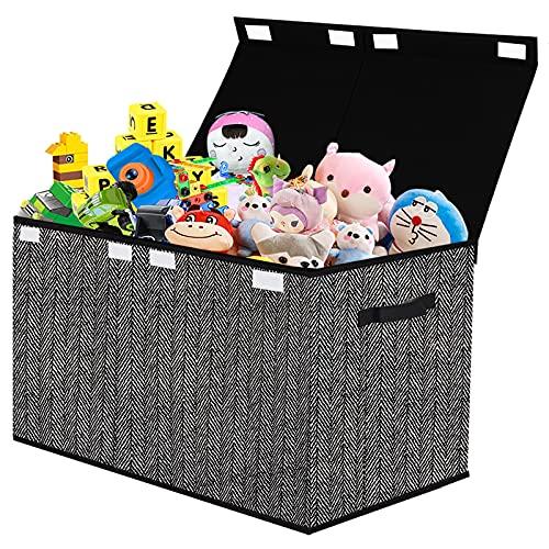 Caja de juguetes para niños con tapa abatible – Cajas de juguetes resistentes con asas para guardería, sala de juegos, armario, organización del hogar, patrón de espiga (negro)
