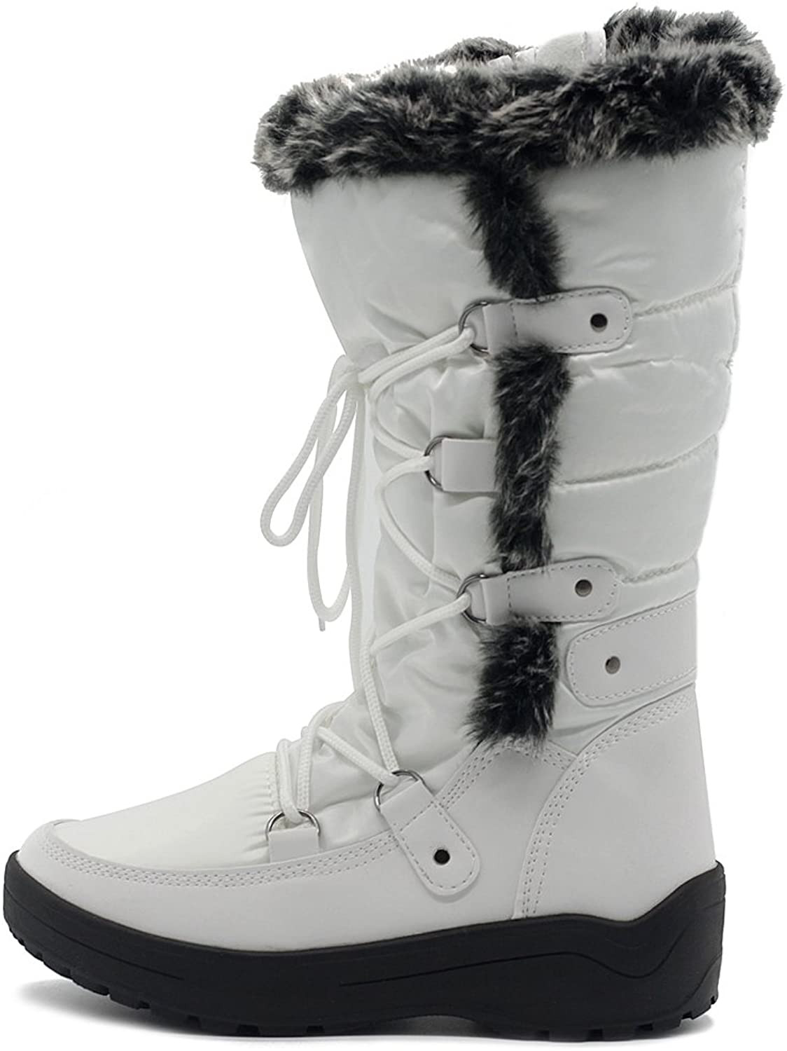 Ollio Womens shoes Lace Up Nylone Padding Quilted Fur Snow Duck Boots TWB5127 (9 B(M) US, White)