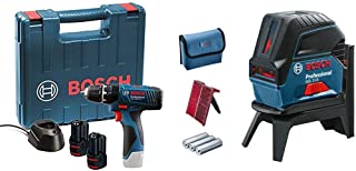 Bosch GSB 120 - LI Professional 12V with 2 x 1.5 Ah Batteries + Bosch Professional cross line laser GCL 2-15