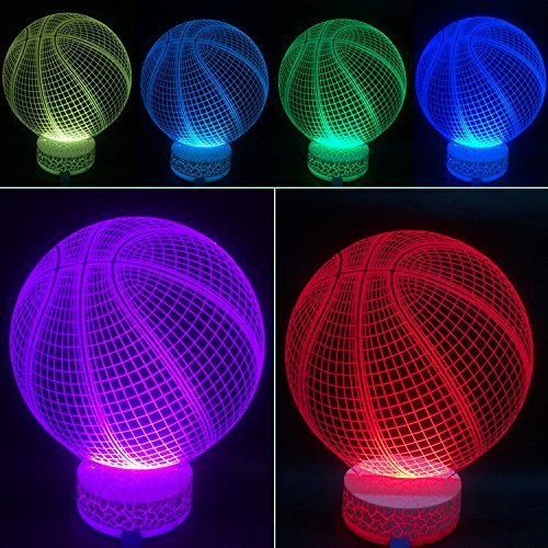 AZALCO 3D Illusion LED Night Lamp Basketball with Built-in Battery and Remote Control 7+16color Change