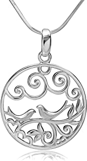 925 Sterling Silver Filigree Lovebirds on Tree Branch Love Symbol Round Pendant Necklace, 18 inches