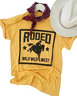 Anbech 80s Rodeo T-Shirt Women Short Sleeve Classic Retro Female Casual Tee Tops