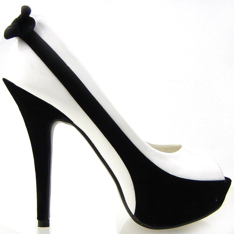 Show Story Women's 2 Tone Bow Peep Toe Stiletto Platform High Heel shoes,LF30407