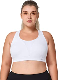 Yvette Mesh Women's Plus Size Sports Bras-Breathable Fabric High Impact Padded Sports Bras for Large Breast